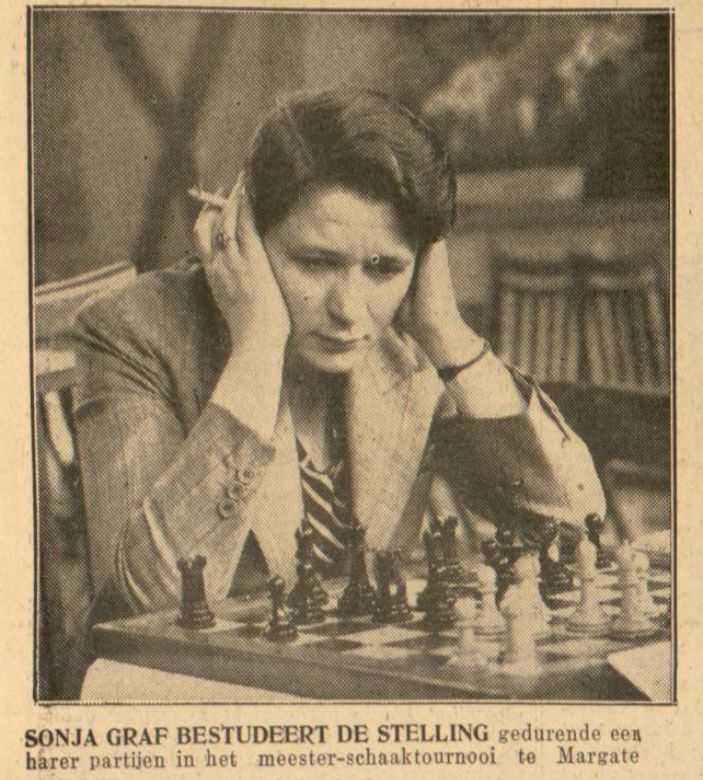 Sonja Grafová na turnaji v Margate 1936.